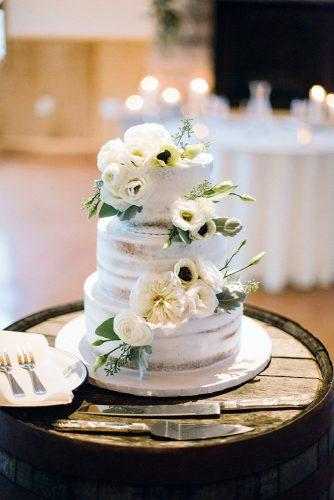 rustic wedding cakes white buttercream and flowers on naked cake veronicalyoung via instagram