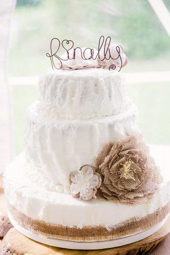 rustic wedding cakes white buttercream with burlap flowers bruna sanches