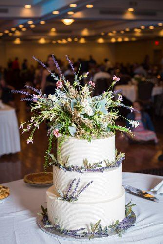 rustic wedding cakes white with wildflowers lavender and greenery lydia stern