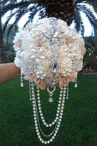 brooch wedding bouquets with pearls and blue gemstones