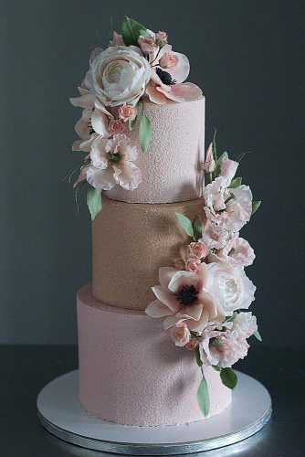 wedding cakes pictures powder pink with flowers lyubov ki via instagram