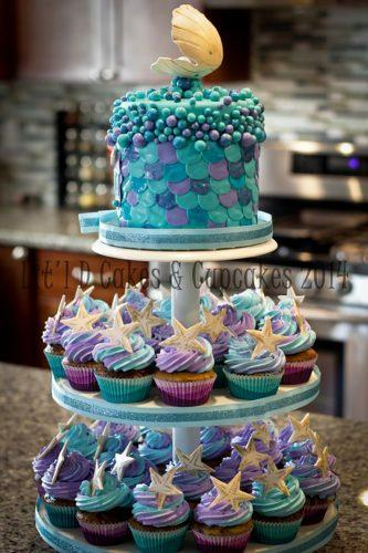 mermaid chocolate wedding-cupcakes-with-stunning-cake on the top cakecentral