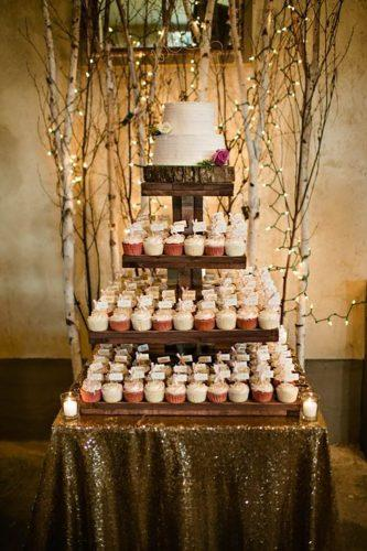 rustic chocolate wedding cupcake tower-amanda basteen photography
