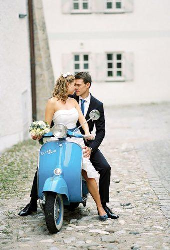 wedding exit photo ideas coach blue scooter magnoliarouge