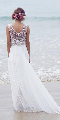 beach silk lace ivory and pearl toned hand beaded embellishment low draped back anna campbell wedding dresses