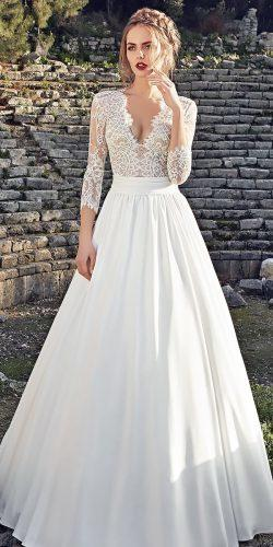 lace-a line long natural waist v neck long sleeve wedding dresses lanesta