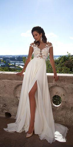 sexy lace beach wedding dresses with high slit cap sleeves mila nova