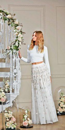 tulle floral decorated skirt bridal separates with long sleeves top needle and thread