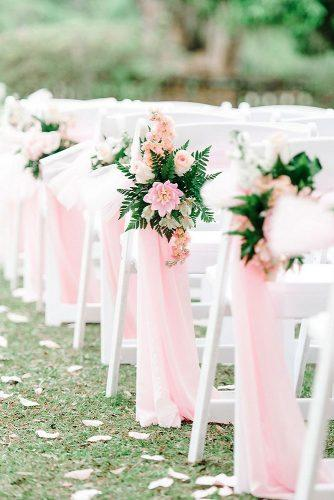 wedding aisle decoration ideas on white chairs greenery rose flowers and cloth pasha belman photography