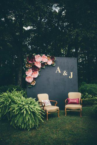 wedding decor trends black paper wall with flowers amber phinisee