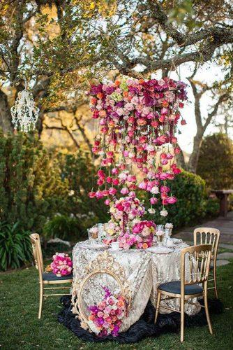 wedding decor trends romantic reception decorated with cascading suspended roses amy burke designs