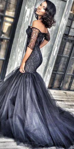 mermaid black wedding dress with tulle skirt by KateS
