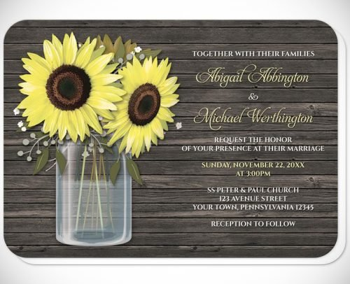 sunflower wedding invitations mason jar and vintage sunflowers rustic invitation