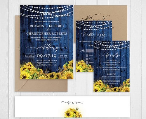 sunflower wedding invitations sunflower and blue wedding invite with respond card