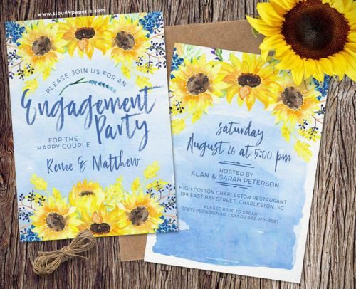 sunflower wedding invitations sunflower suite and watercolor blue