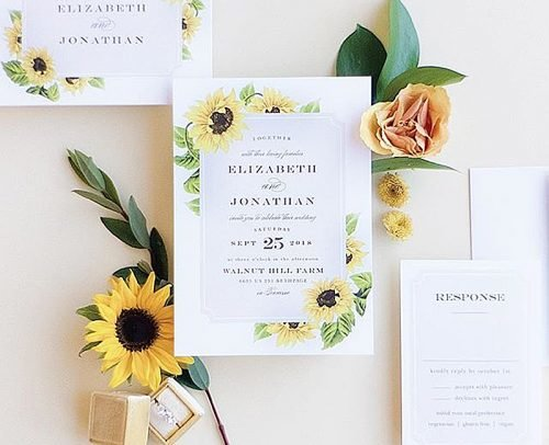 sunflower wedding invitations sunflower wreath classic invitation
