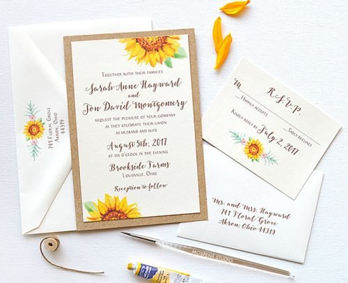 sunflower wedding invitations watercolor sunflower wedding invitation