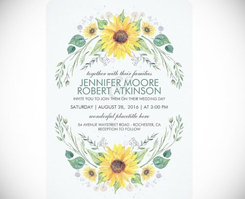 sunflower wedding invitations watercolor sunflowers wreath wedding invitation