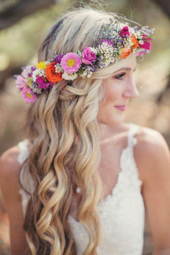 wedding flower crowns blonde curls with pink flower crown anne claire brun