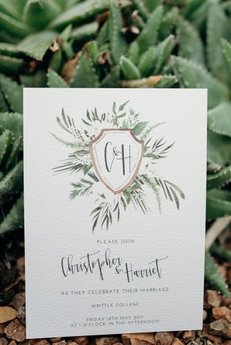 wedding monogram invitation for a wedding with a monogram watercolor holly usher via instagram