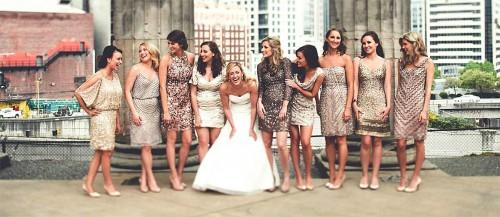 sequined metallic bridesmaid dresses