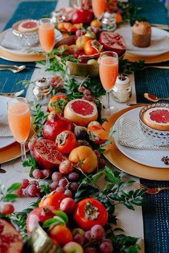 non floral wedding centerpieces table decorated with fruits danae horst