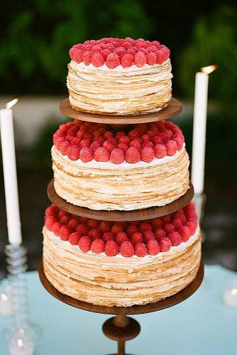 wedding cake alternatives crepe cake three tiered with strawberries trendy bride wedding magazine via instagram