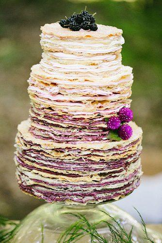 wedding cake alternatives crepe cake with cream ombre with mulberry and flowers spanglish studios