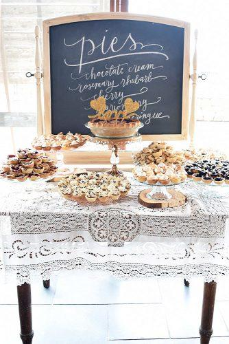 wedding cake alternatives dessert table with pie on the top inscription love foxtail bakeshop via instagram