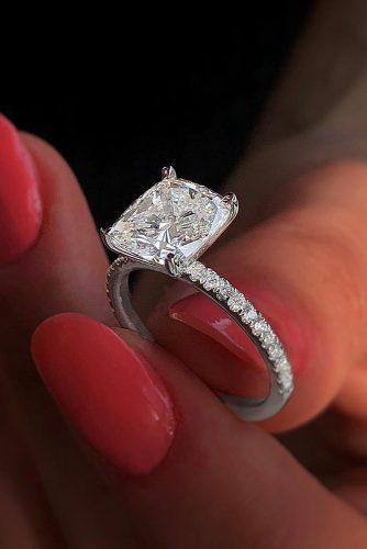 cushion cut engagement rings gold diamond solitaire