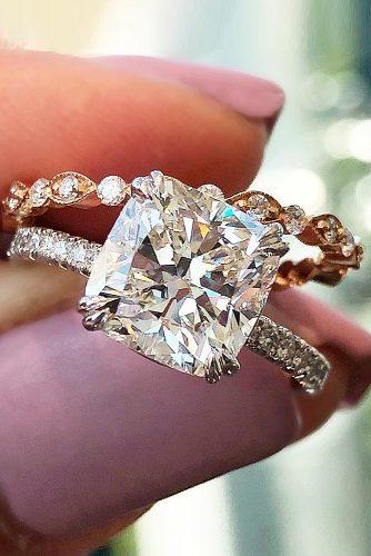 cushion cut engagement rings gold solitaire pave band diamond