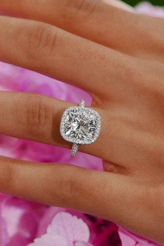 cushion cut engagement rings halo diamonds white gold pave band