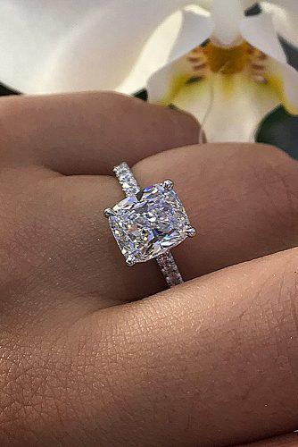 cushion cut engagement rings solitaire classic diamond white gold