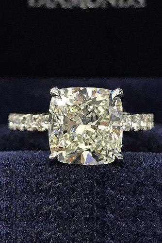 cushion cut engagement rings solitaire diamond gold pave band