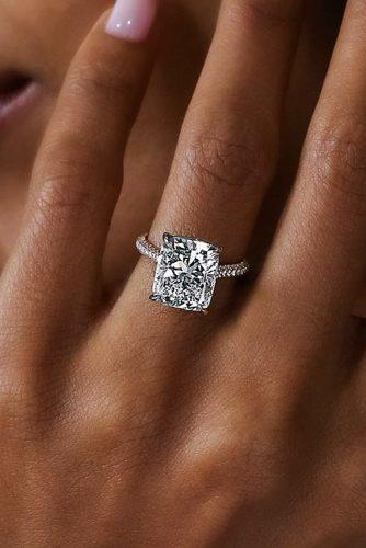 cushion cut engagement rings solitaire diamond pave band white gold