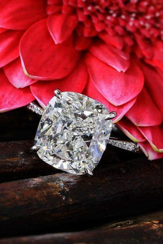 cushion cut engagement rings solitaire pave band diamond