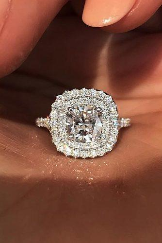 cushion cut engagement rings unique diamond double halo