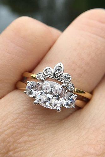 cushion cut engagement rings wedding set gold vintage