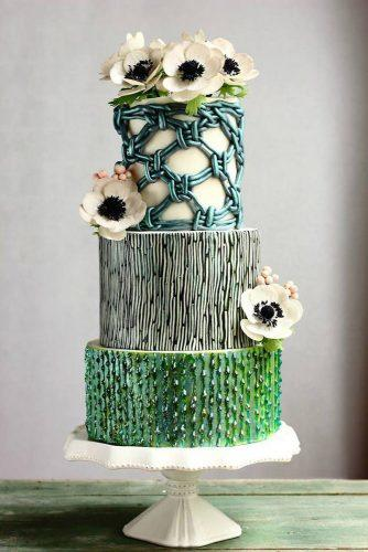 textured wedding cakes cake with an unusual texture of black blue and green flowers decorated with flowers cake trends via instagram