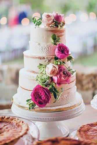 textured wedding cakes naked decorated with pink roses and lace texture layered bake shop via instagram