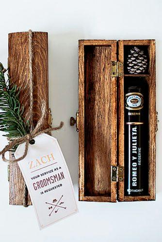 cigar in wood box groomsmen proposal ideas artist craftsman