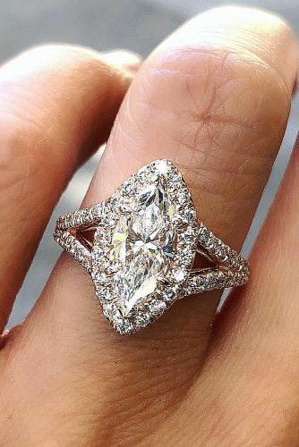 engagement ring shapes halo marquise cut split