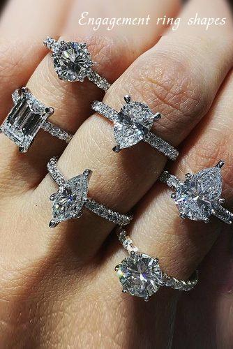 engagement ring shapes solitaire diamonds pave band white gold