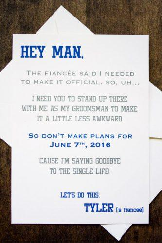 groomsmen proposal ideas white paper blue text forevery moment
