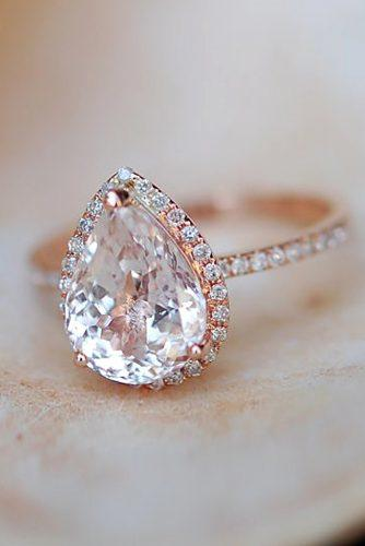 rose gold halo pave engagement rings 2