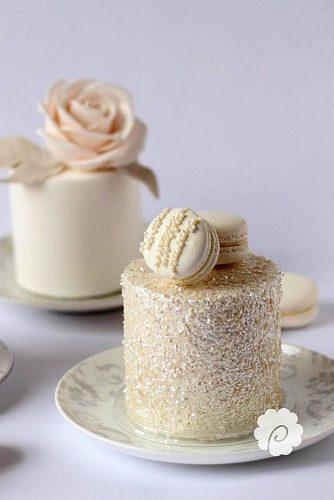 mini wedding cakes beige with macaroons dominique pickering via instagram