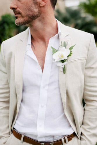 mens wedding attire light beige grooms suit vanilla photography