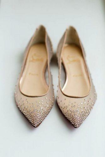 nude wedding flats with rhinestones