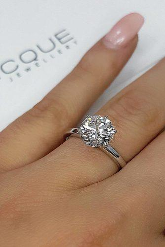 round engagement rings simple solitaire diamond white gold