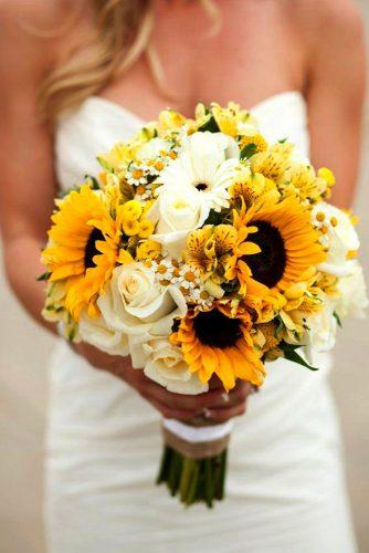 sunflower bouquets with white flowers 1